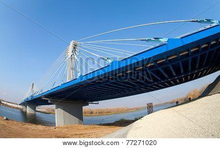 Kirovsky Cable Bridge Across The Samara River In Kirovsky District Of Samara City, Russia