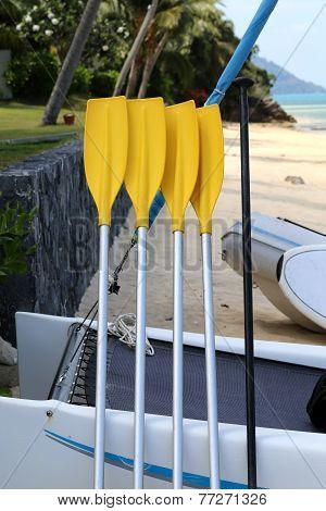 Yellow Paddle Boat paddles