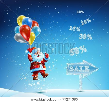 Santa Claus in a hurry to sell and discounts