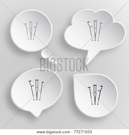 Crutches. White flat raster buttons on gray background.