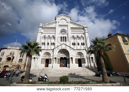 MONTE CARLO, MONACO - October 30, 2014: An exterior view of Saint Paul's Church in Monte Carlo, Monaco. St. Paul's houses the royal family's tombs.
