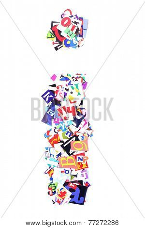Letter I made of colorful newspaper letters isolated on white