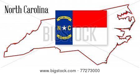 North Carolina State Map And Flag