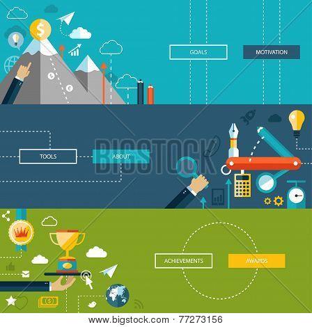 Set of modern flat design business infographics templates