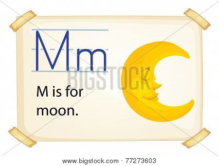 A letter M for moon on a white background