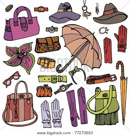 Fashion Female Accessories Set.Hand drowing Sketch