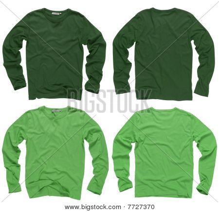 Blank Green Long Sleeve Shirts