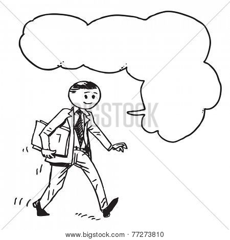 Businessman hurrying and speaking