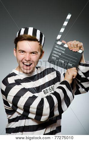 Prison inmate in funny concept