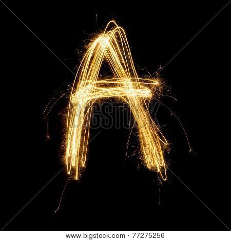 Sparkler Firework Light Alphabet A.
