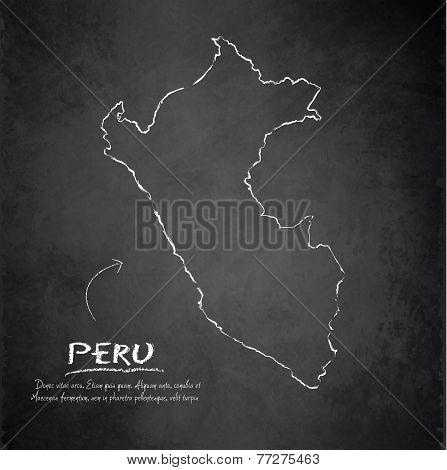 Peru map blackboard chalkboard vector