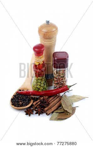 Set of various spices  isolated on white