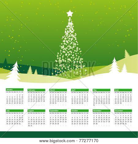2015 green calendar with christmas tree