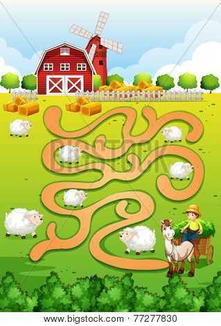 Illustration of a maze puzzle with farm background
