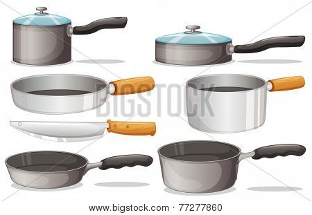 Illustration of different cooking equipments