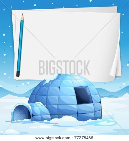 Illustration of an igloo with papers and a pencil