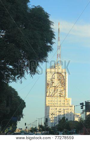 Portrait of Eva on building in 9 de Julio, Buenos Aires