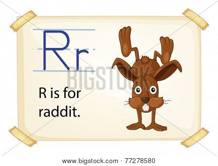 A letter R for rabbit on a white background