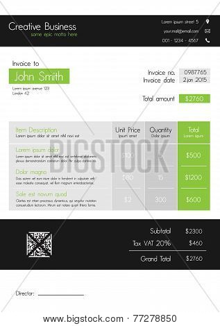 Invoice template - clean modern style of green and grey