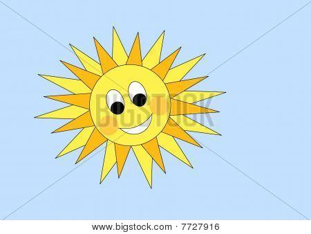 Vector cartoon sun on blue sky