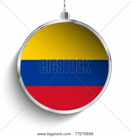 Merry Christmas Silver Ball With Flag Colombia