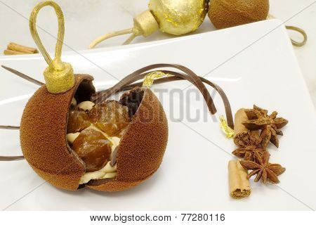 Christmas Chocolate Baubles With Chirstmas Food Garnish