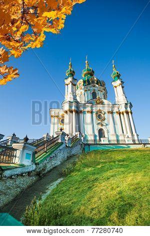 Beautiful daytime view of St Andrew's Church, Kiev