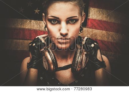 Steampunk girl against American flag