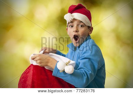 child with surprise christmas gifts