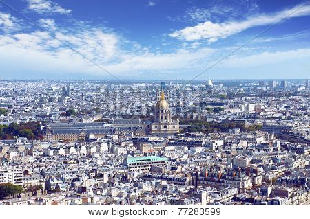 The Paris skyline from Eiffel tower