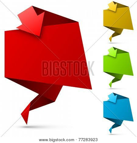 Color folded banner with arrow vector template.