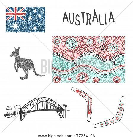 Australian Typical Symbols With Aboriginal Pattern