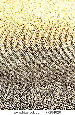 Glitter Vintage Golden Lights Background. Beautiful Christmas Glittering Sparkles Dust On Background