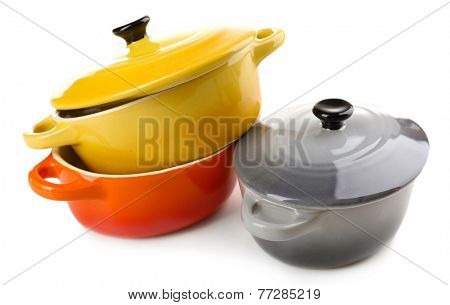 Ceramic pot. soup tureen isolated on white