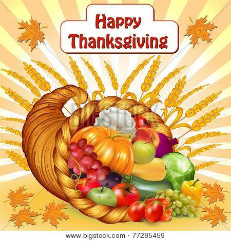 Card For Thanksgiving With A Cornucopia Of Fruits And Vegetables