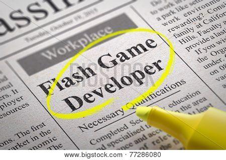 Flash Game Developer Vacancy in Newspaper.