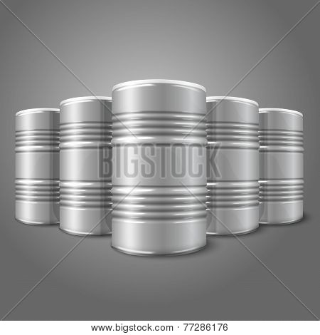 Blank vector realistic blank big oil barrels isolated on gray background.