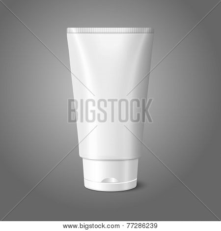 Blank white realistic tube for cosmetics, cream, ointment, toothpaste, lotion, medicine creme etc.