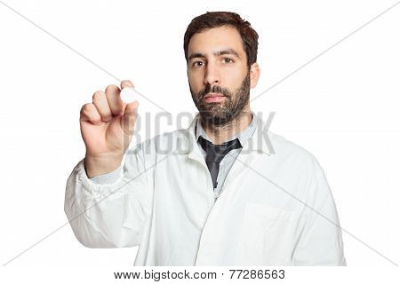 Portrait of young european doctor wit pill