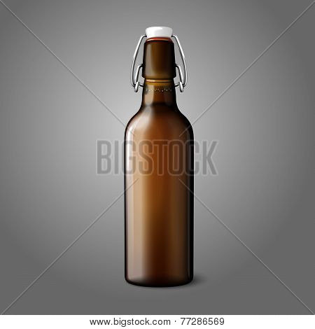 Blank brown realistic retro beer bottle isolated on grey background with place for your design and b