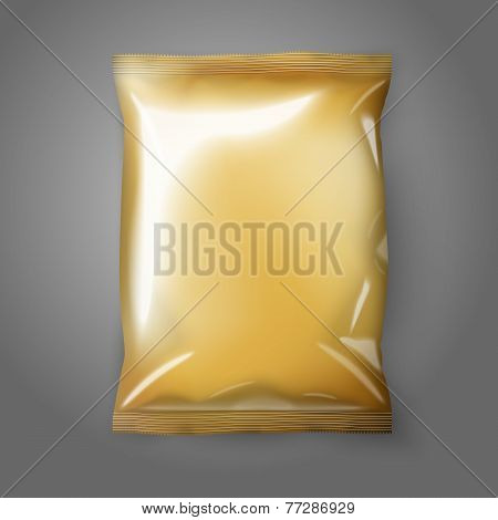 Blank golden realistic foil snack pack isolated. Vector illustration
