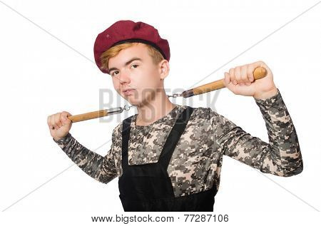 Funny soldier in military concept isolated on the white