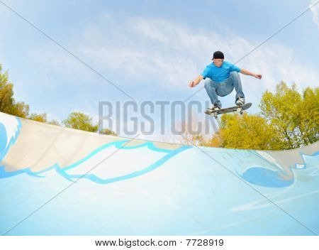skateboarder in concrete wave
