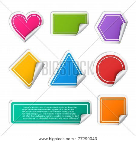 Vector realistic colorful sticker set different geometric shapes