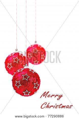 christmas red christmas balls isolated hanging with white background