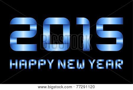 Happy New Year 2015 - Rectangular Bent Blue Metal Letters And Numbers