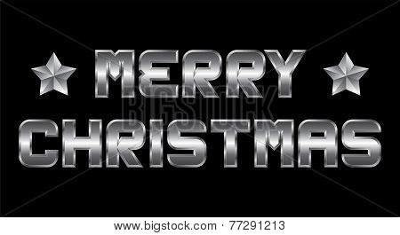 Merry Christmas, Metal Greeting, Black Background