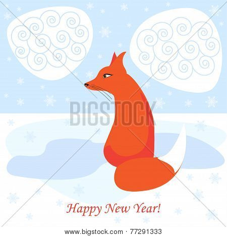 Winter Holiday Vector Background With Ginger Fox