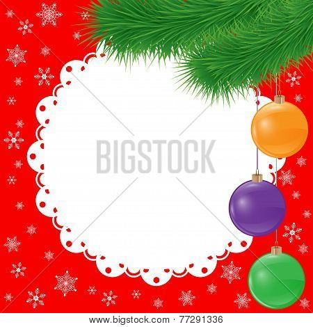 new year vector card background with spruce branch and glaring glass balls