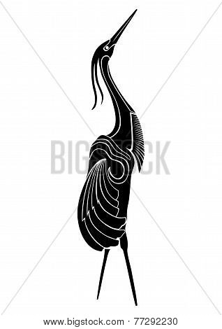 illustration of crane bird